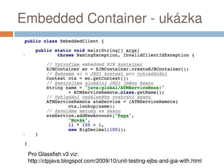 Embedded Container - ukázka