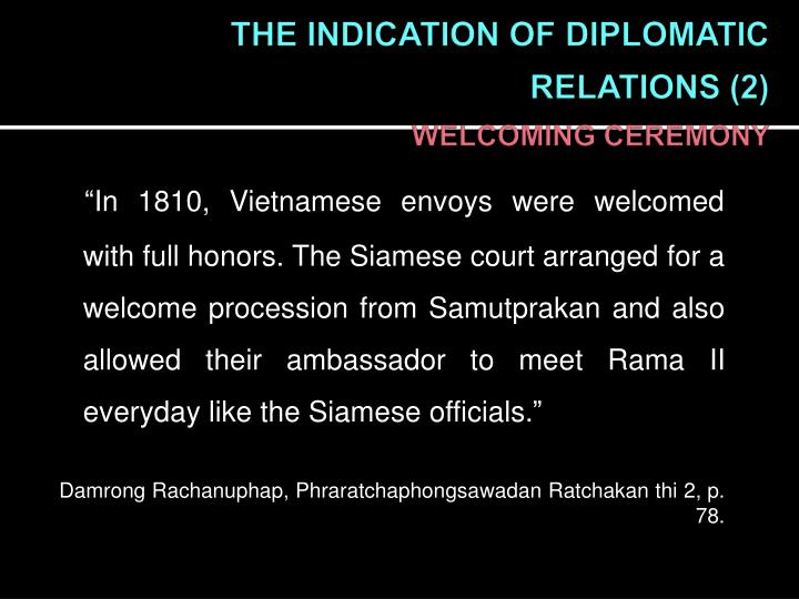 THE INDICATION OF DIPLOMATIC RELATIONS (2)