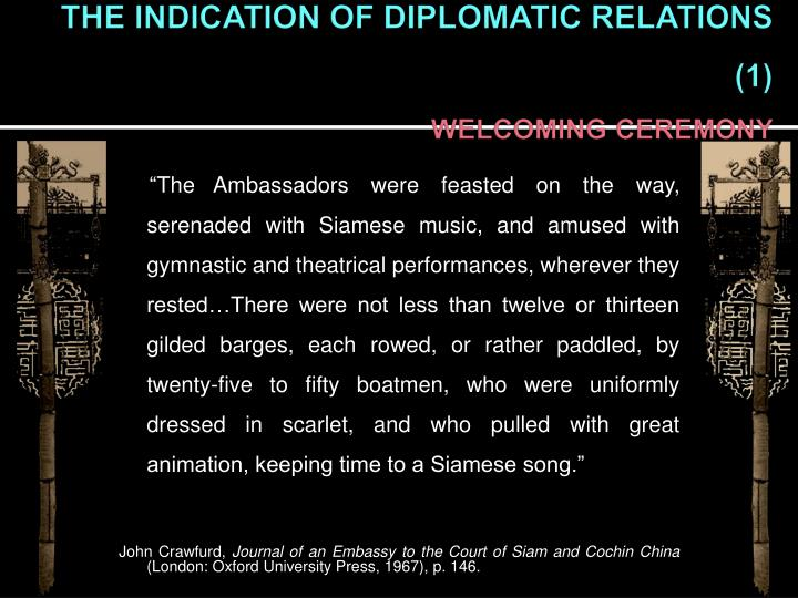 THE INDICATION OF DIPLOMATIC RELATIONS (1)