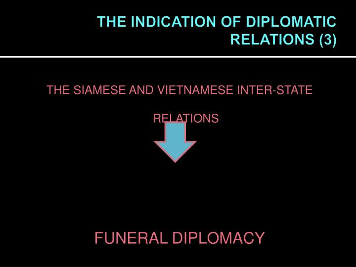 THE INDICATION OF DIPLOMATIC RELATIONS (3)