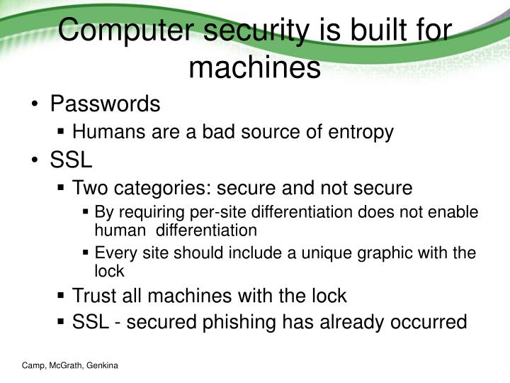 Computer security is built for machines