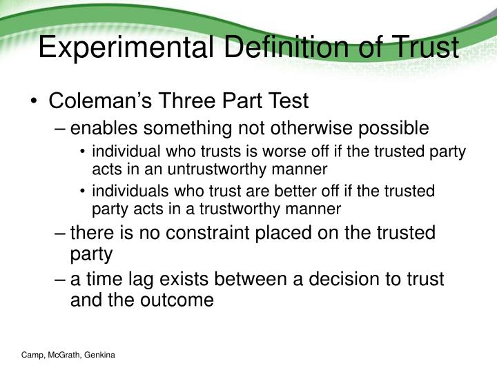 Experimental Definition of Trust