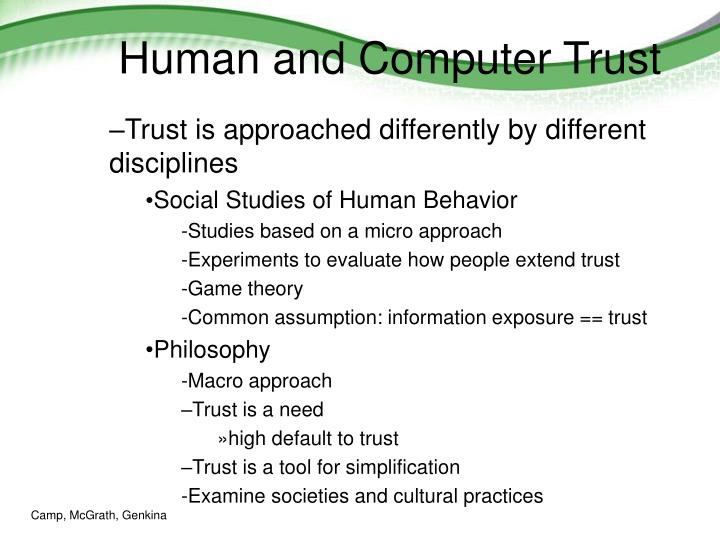 Human and Computer Trust