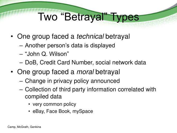 "Two ""Betrayal"" Types"