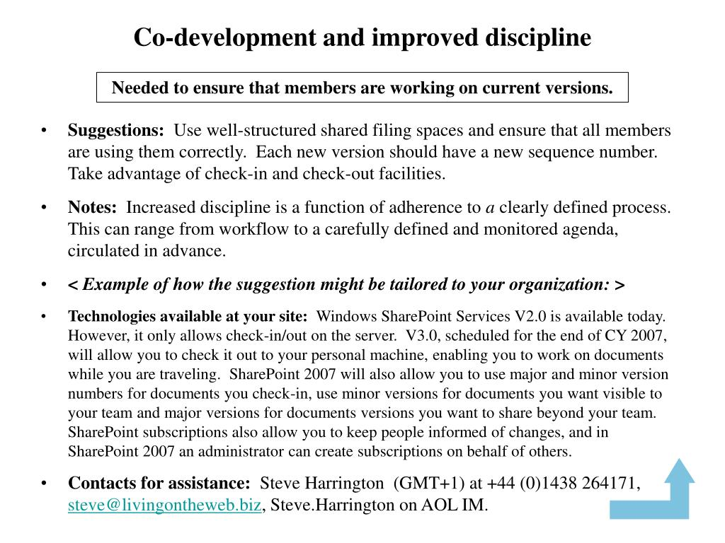 Co-development and improved discipline