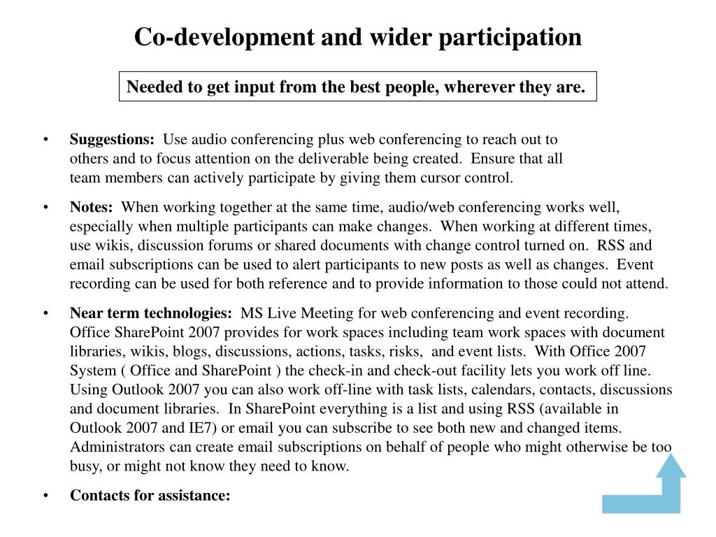Co-development and wider participation