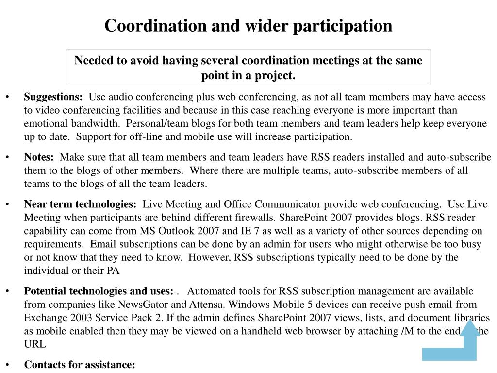 Coordination and wider participation