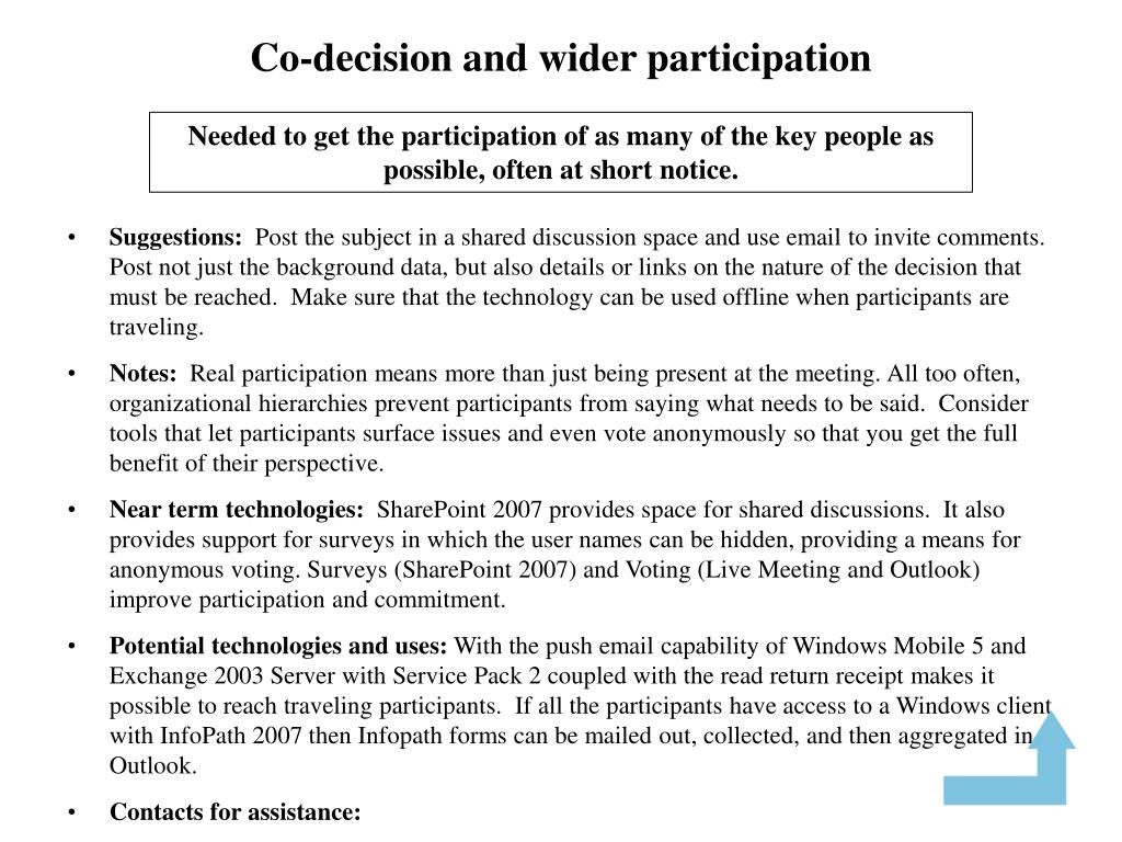 Co-decision and wider participation