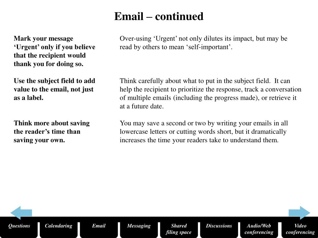 Email – continued