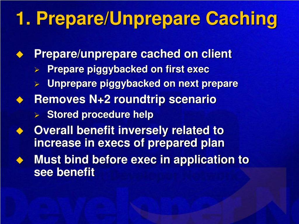 1. Prepare/Unprepare Caching