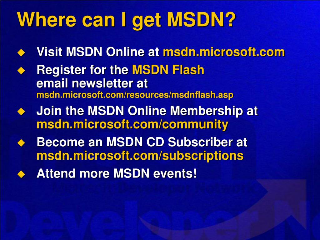 Where can I get MSDN?