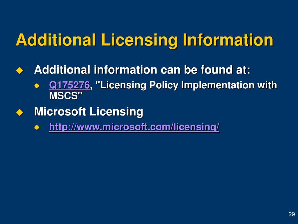 Additional Licensing Information