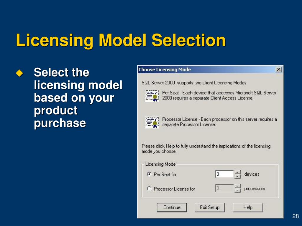 Licensing Model Selection