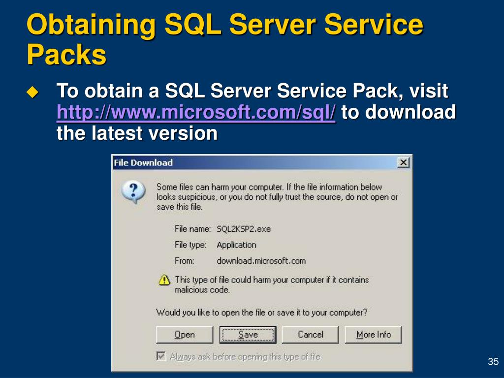 Obtaining SQL Server Service Packs