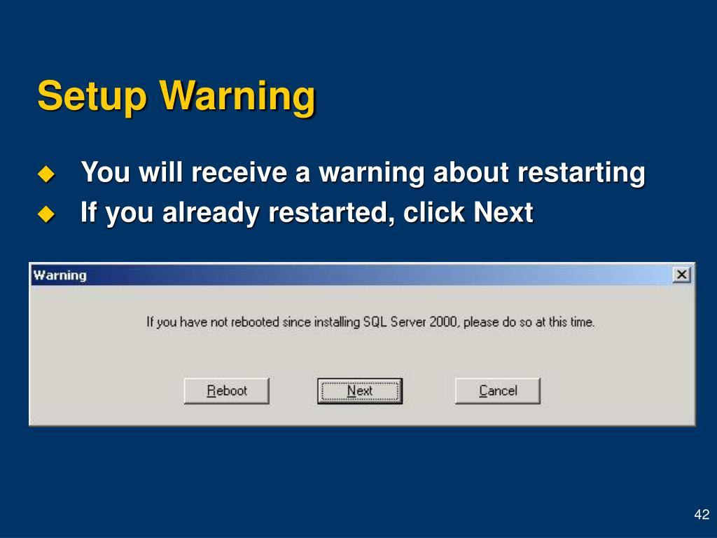 Setup Warning