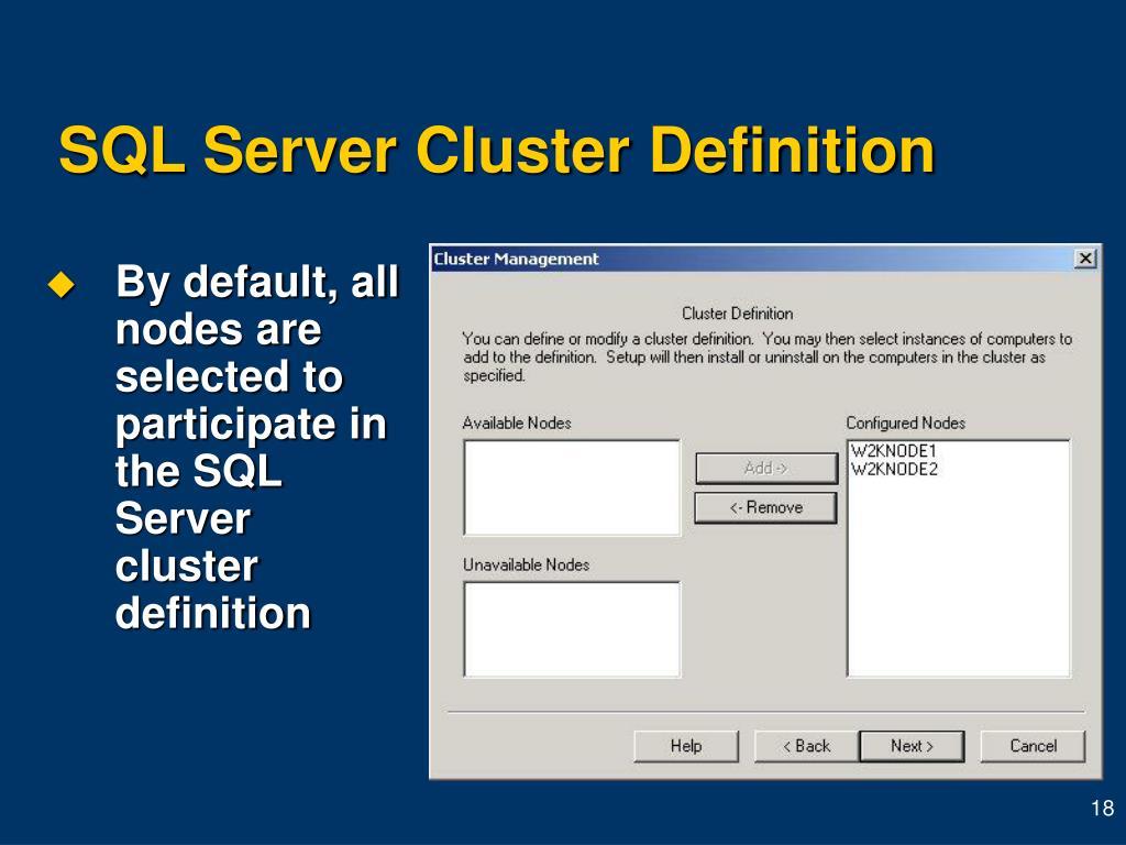 SQL Server Cluster Definition