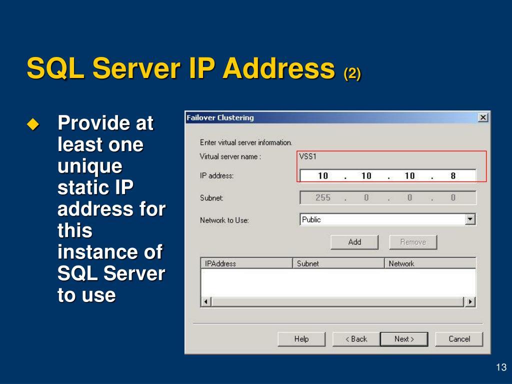 SQL Server IP Address