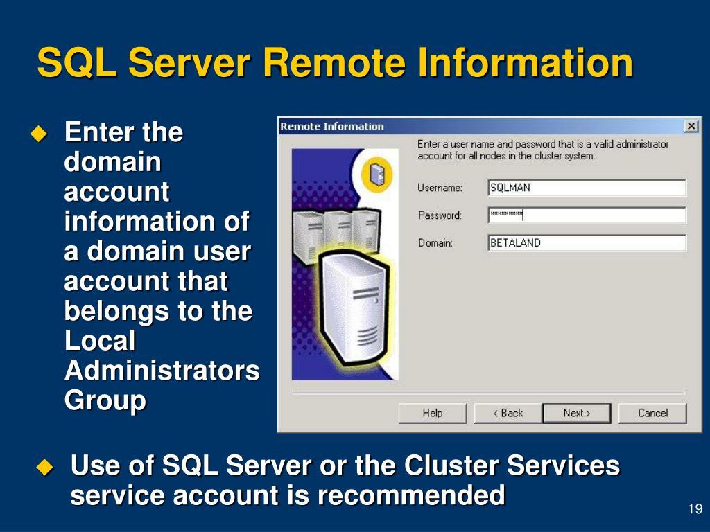 SQL Server Remote Information