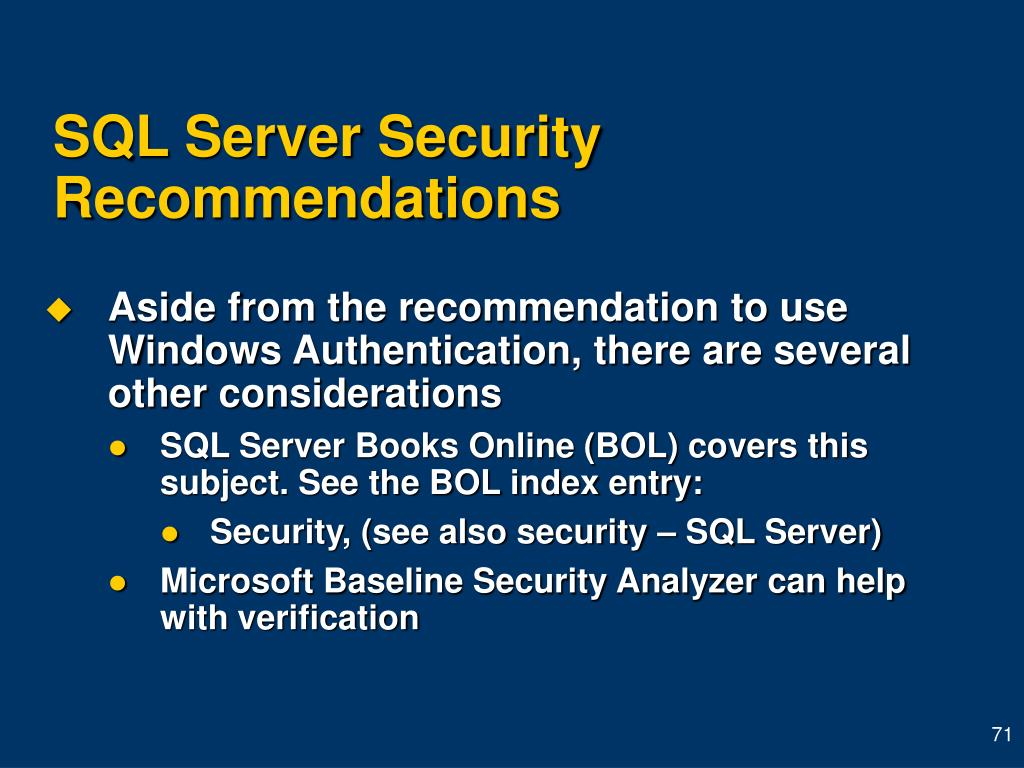 SQL Server Security Recommendations