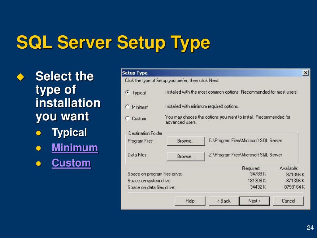 SQL Server Setup Type