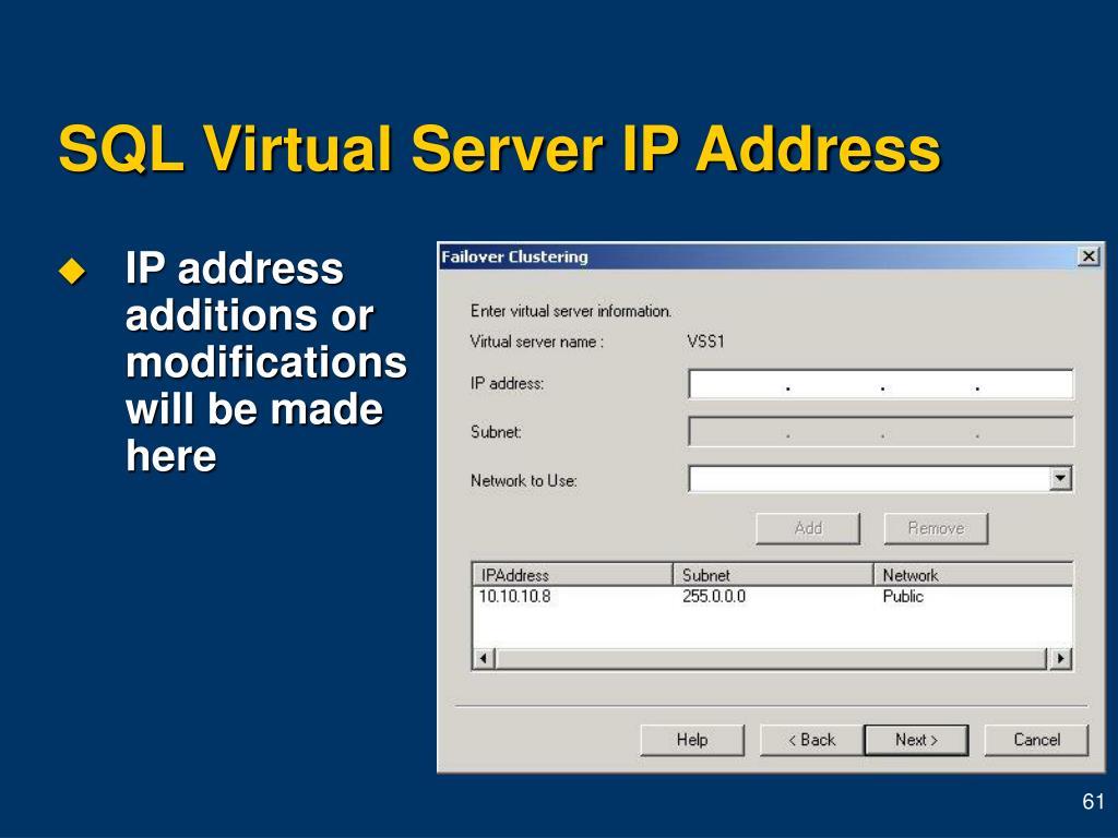 SQL Virtual Server IP Address