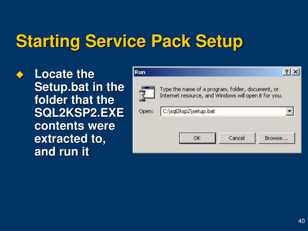 Starting Service Pack Setup