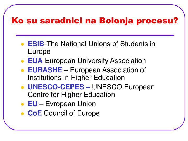 Ko su saradnici na Bolonja procesu?