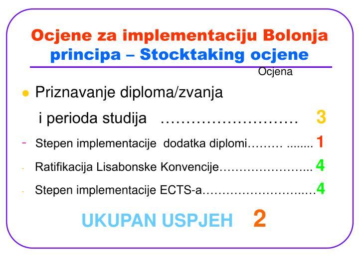 Ocjene za implementaciju Bolonja