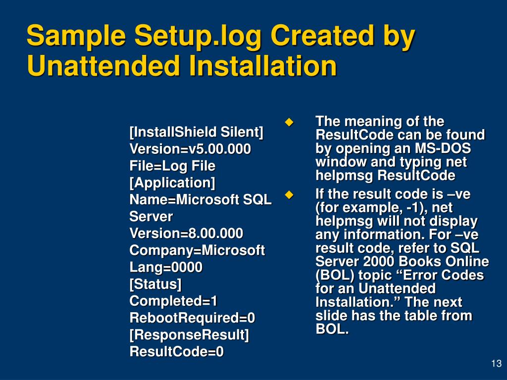 Sample Setup.log Created by Unattended Installation