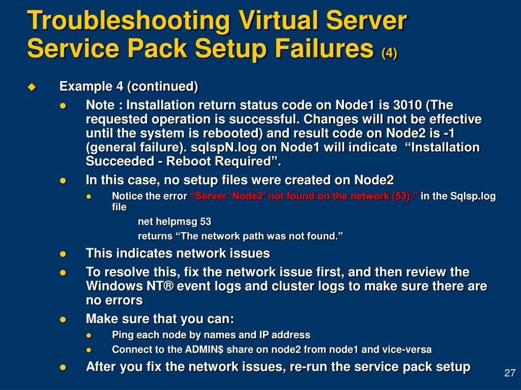 Troubleshooting Virtual Server Service Pack Setup Failures