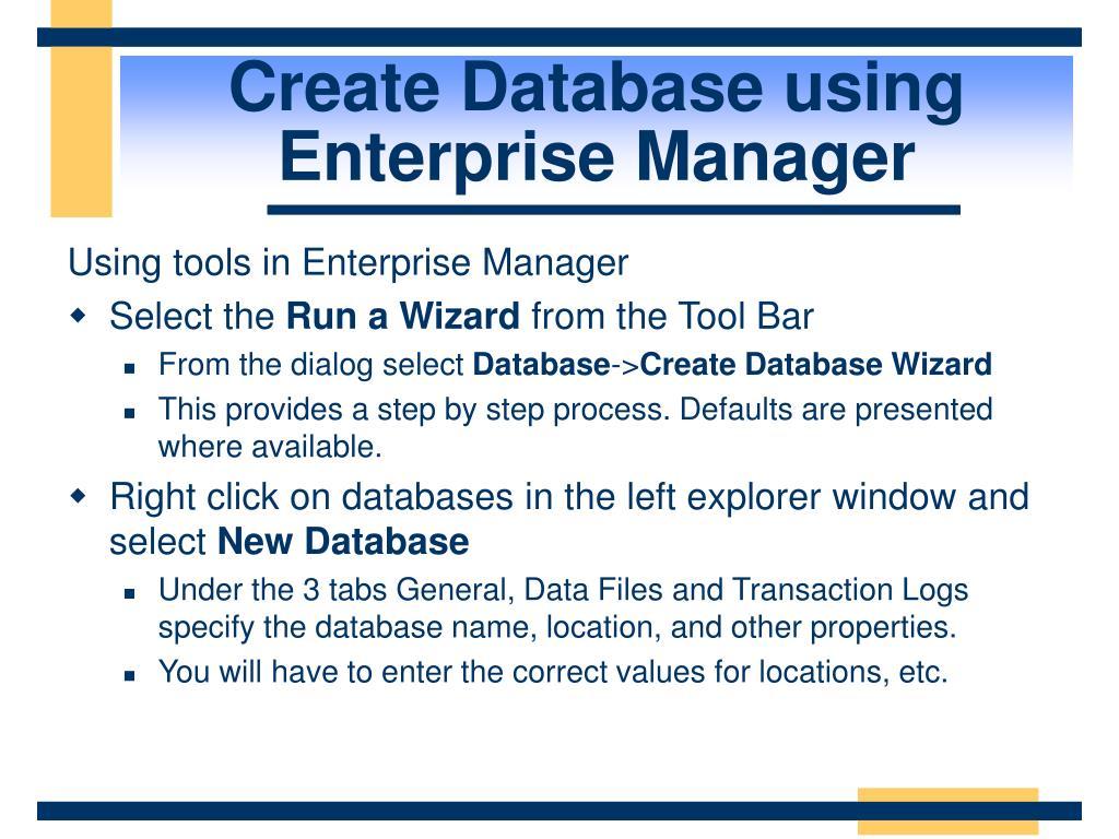 Create Database using Enterprise Manager