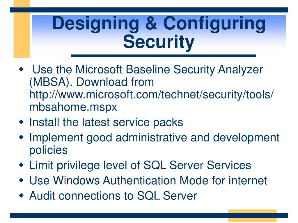 Designing & Configuring Security
