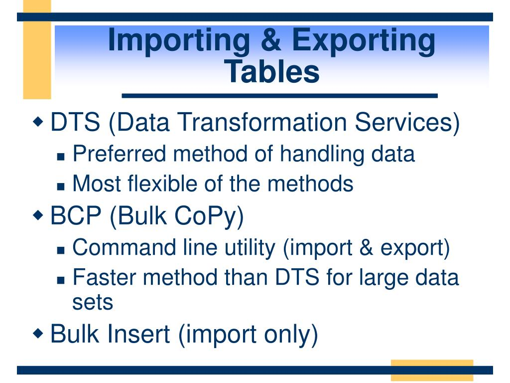 Importing & Exporting Tables
