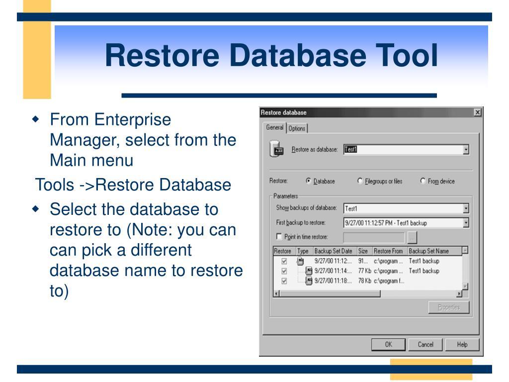 Restore Database Tool