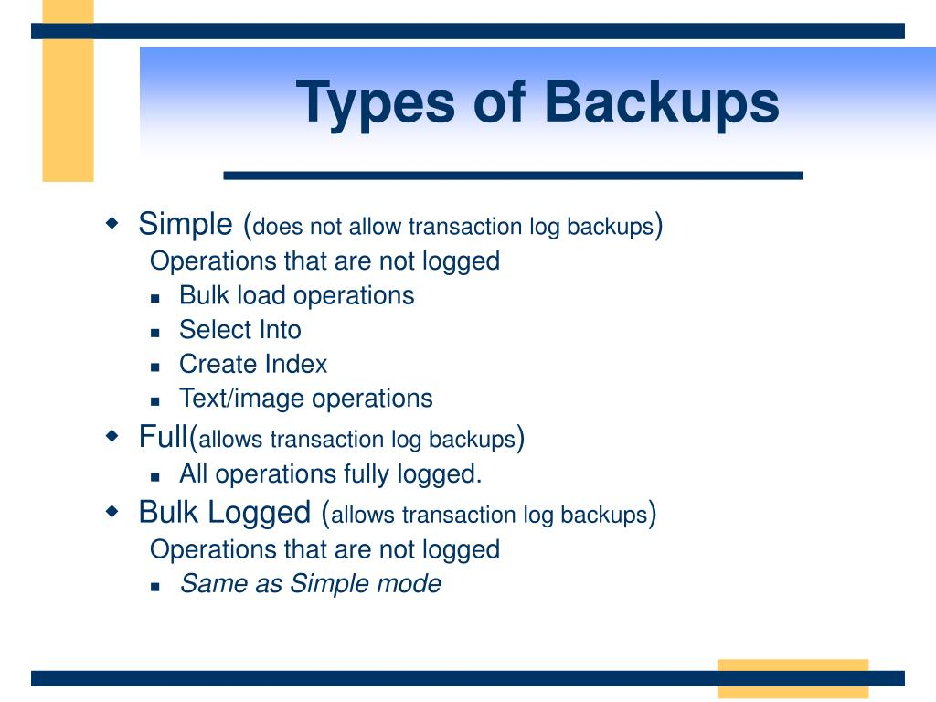 Types of Backups