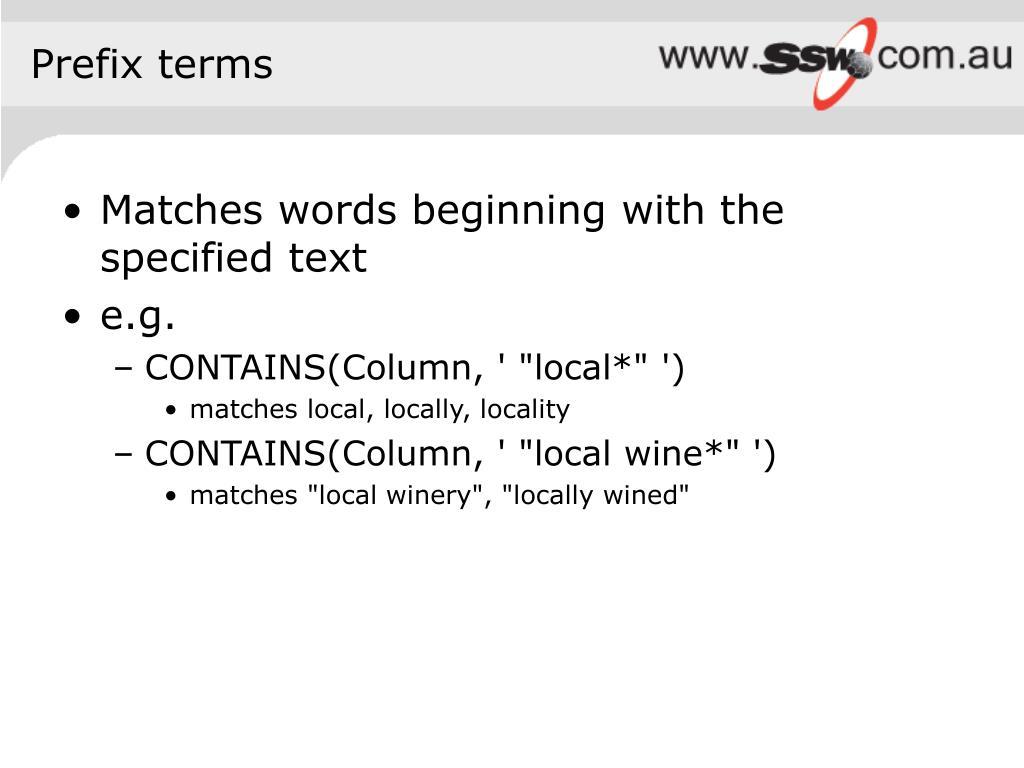 Prefix terms