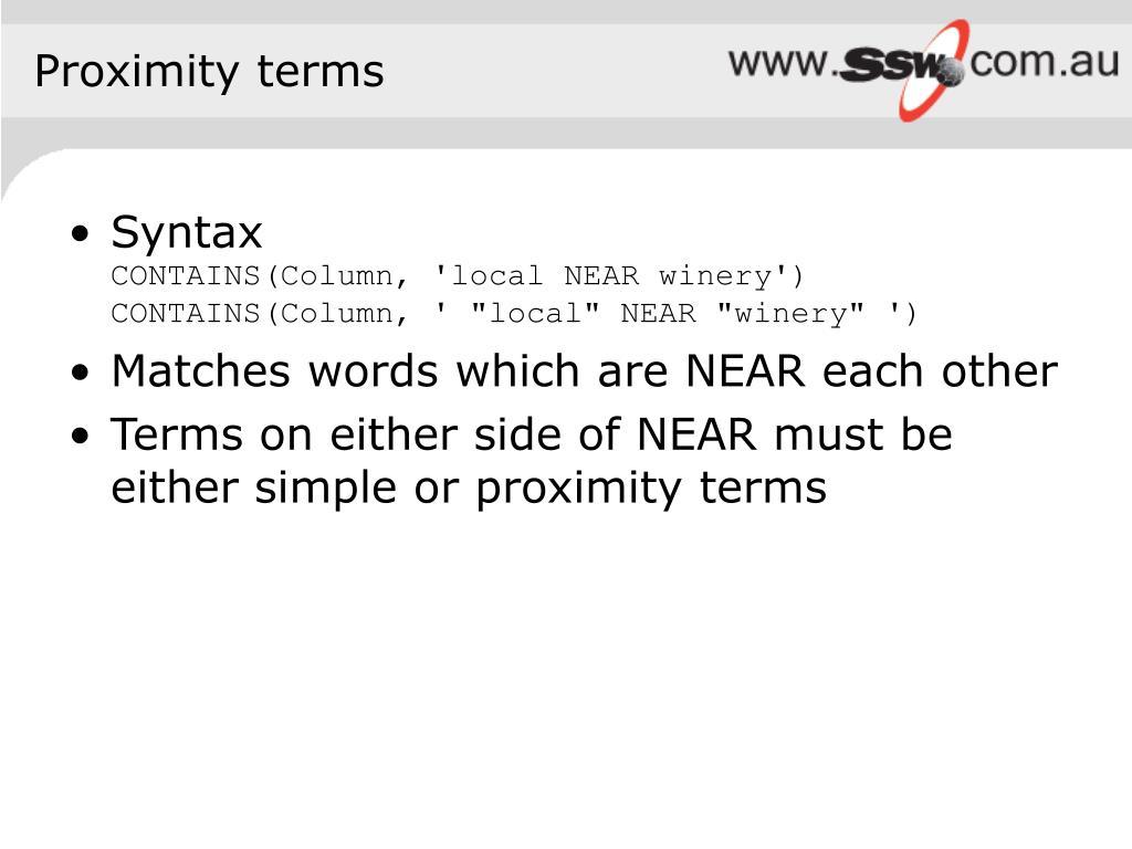 Proximity terms