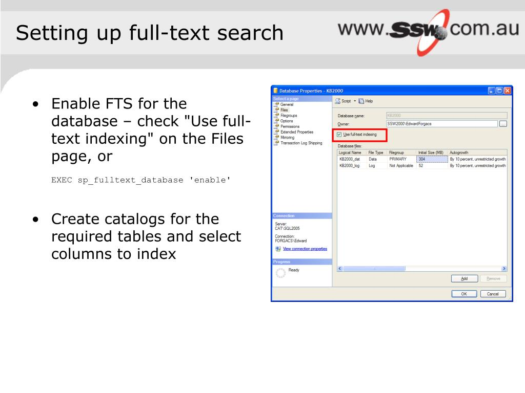 Setting up full-text search