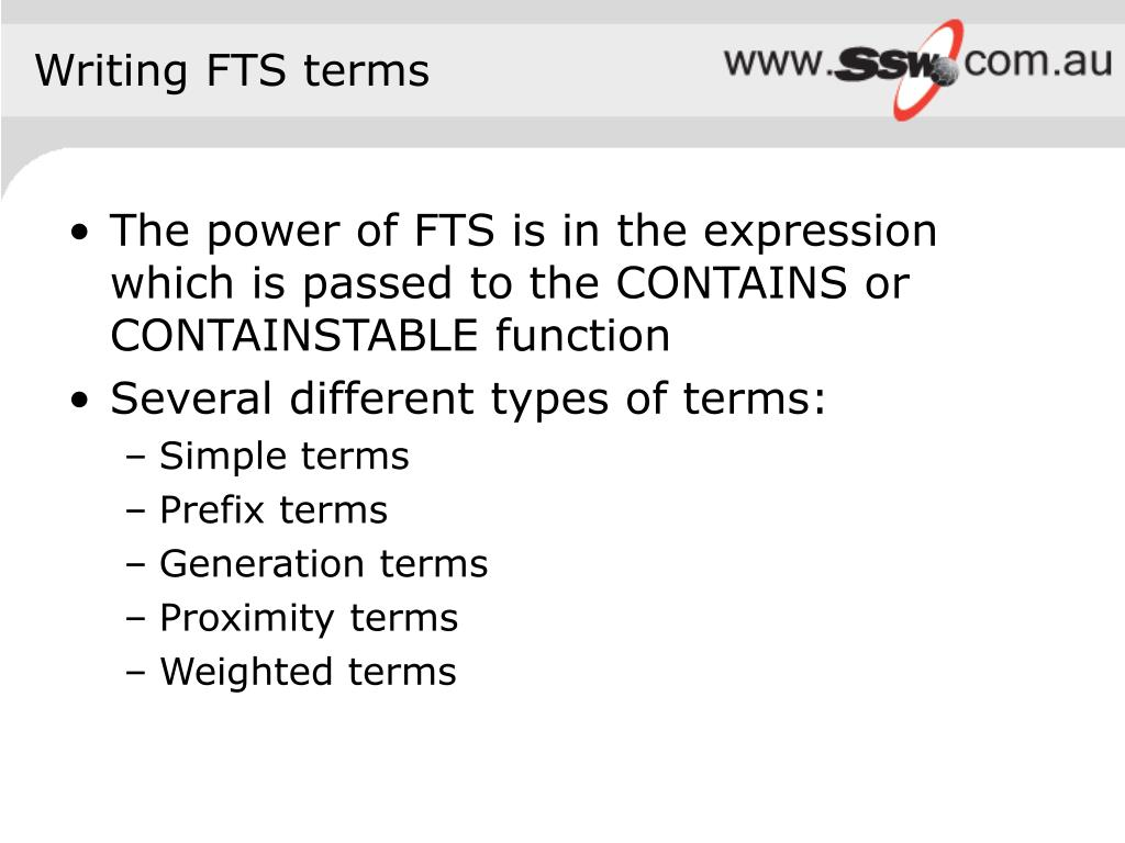 Writing FTS terms