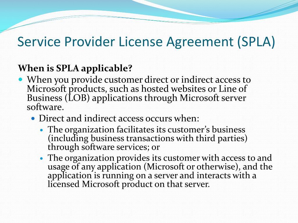Service Provider License Agreement (SPLA)