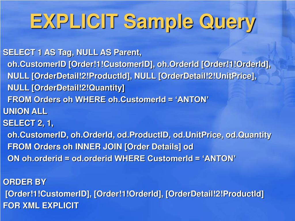 EXPLICIT Sample Query