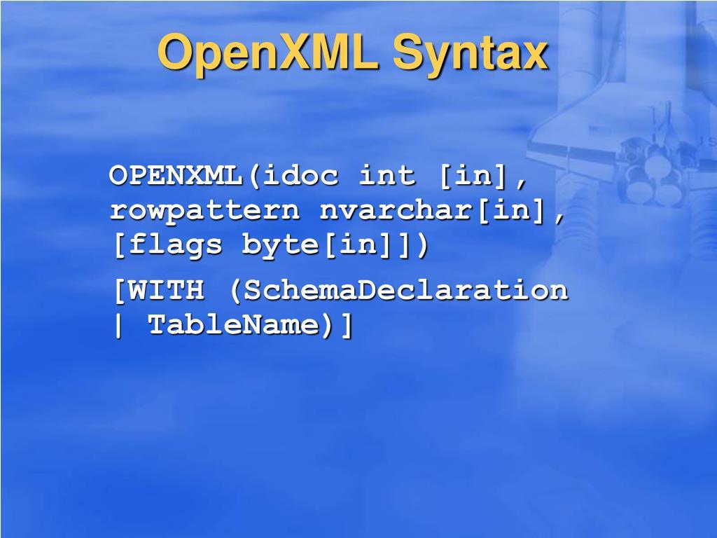 OpenXML Syntax