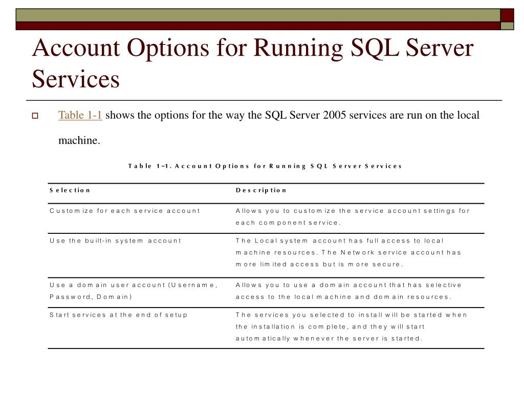 Account Options for Running SQL Server Services
