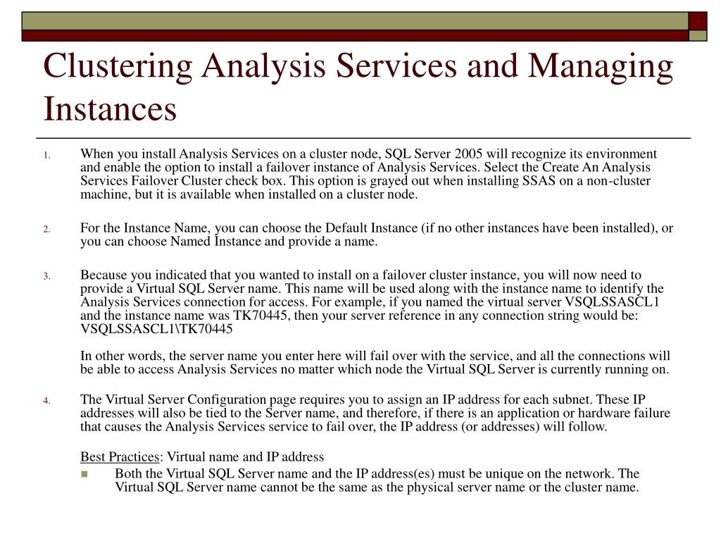 Clustering Analysis Services and Managing Instances