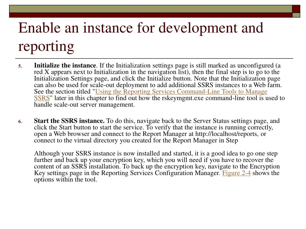 Enable an instance for development and reporting