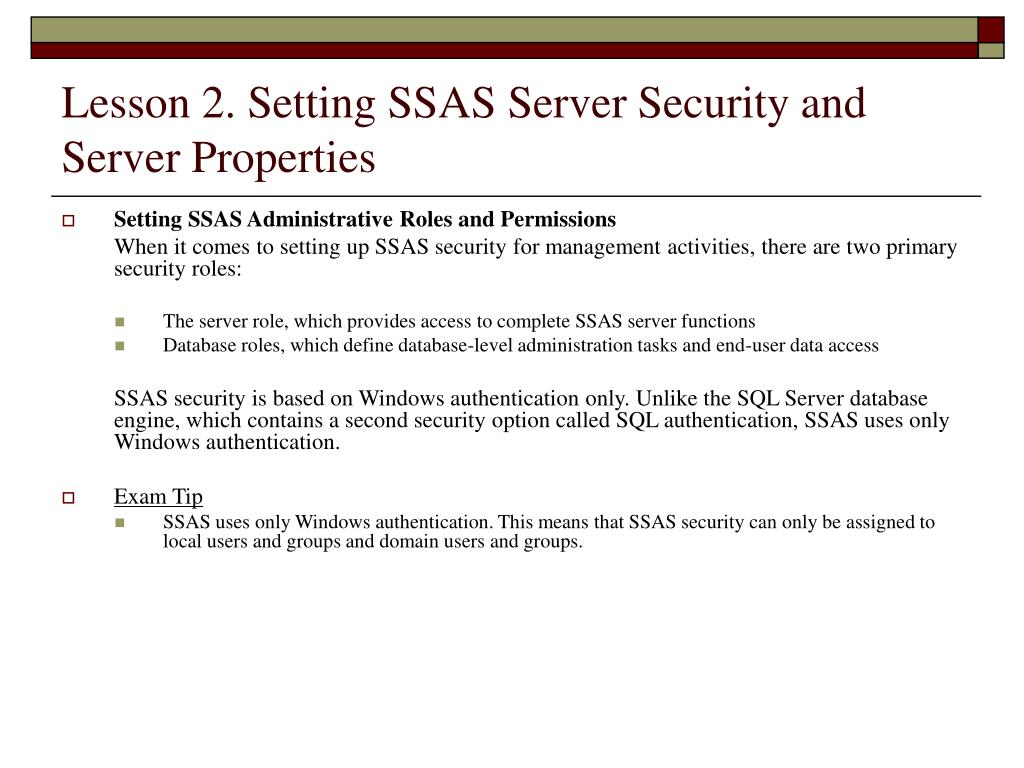 Lesson 2. Setting SSAS Server Security and Server Properties