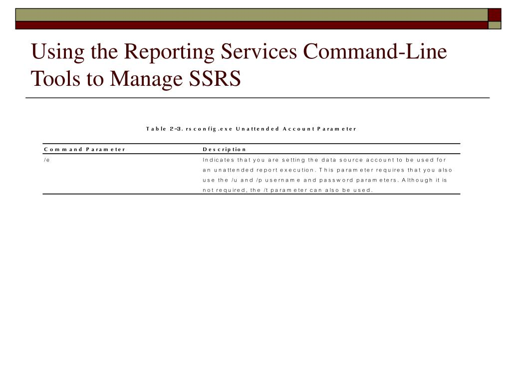 Using the Reporting Services Command-Line Tools to Manage SSRS