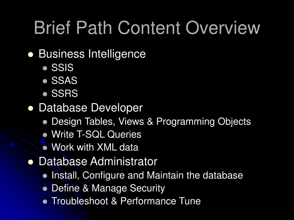 Brief Path Content Overview