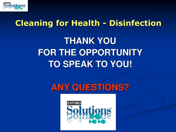 Cleaning for Health - Disinfection