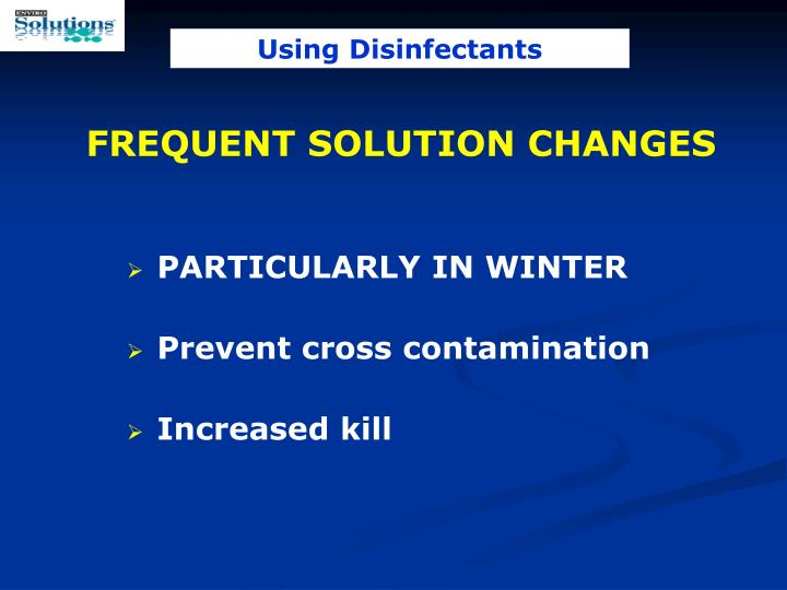 Using Disinfectants